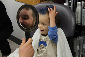 Here's looking at me child with hair dyed blue