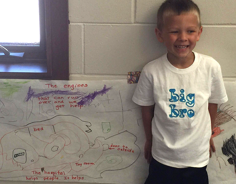 Braxtyn Minteer and his drawing of the hospital