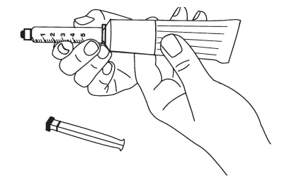 Filling the syringe with lubricating jelly drawing