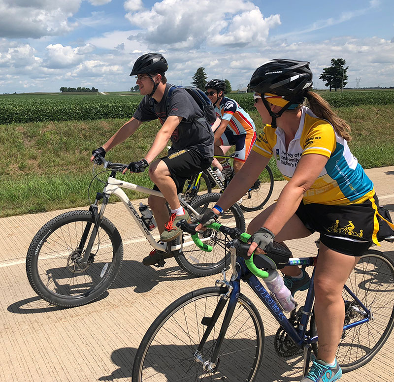 Riding with children's RAGBRAI 2018 team photo