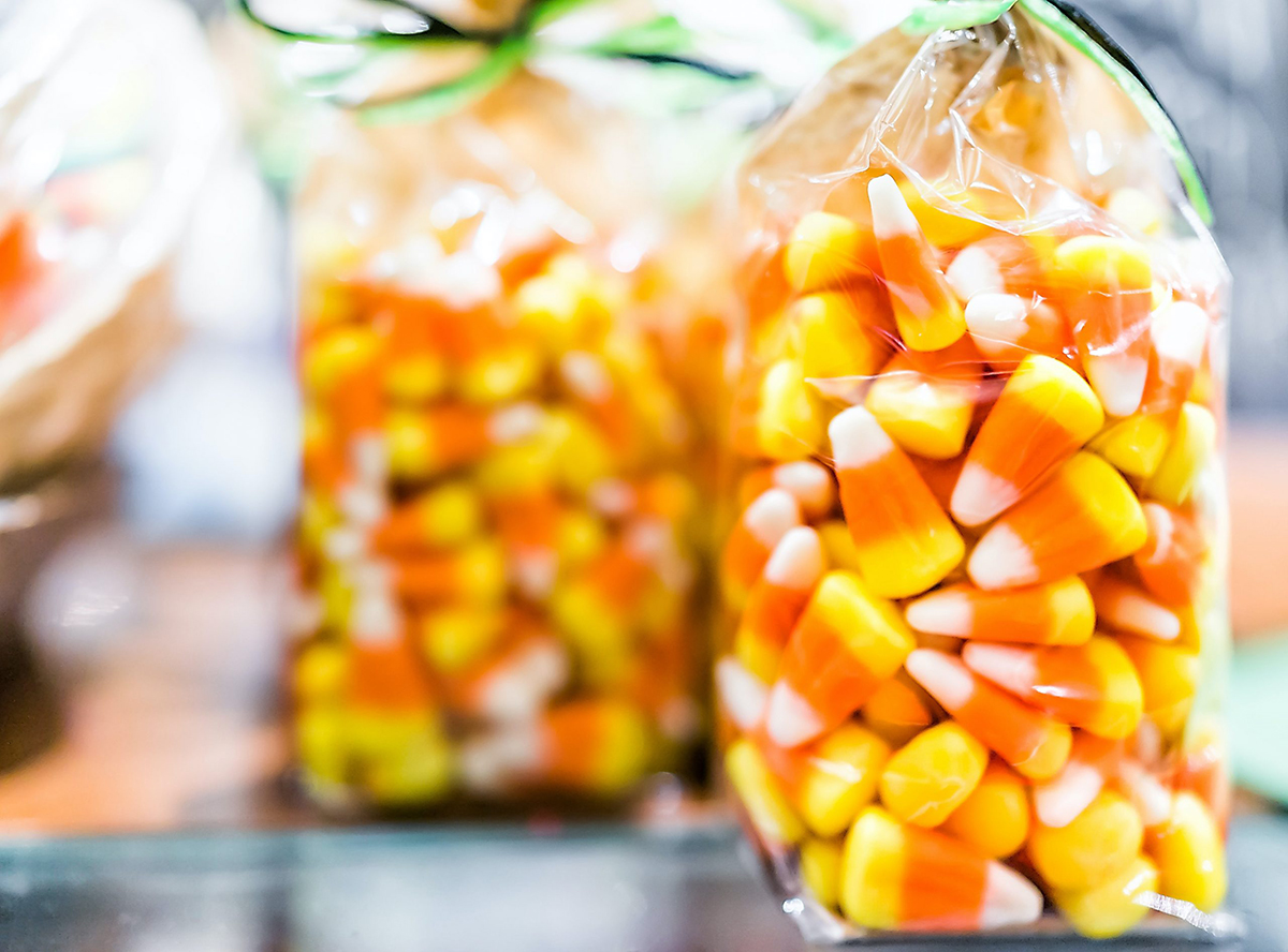 Bags of candy corn