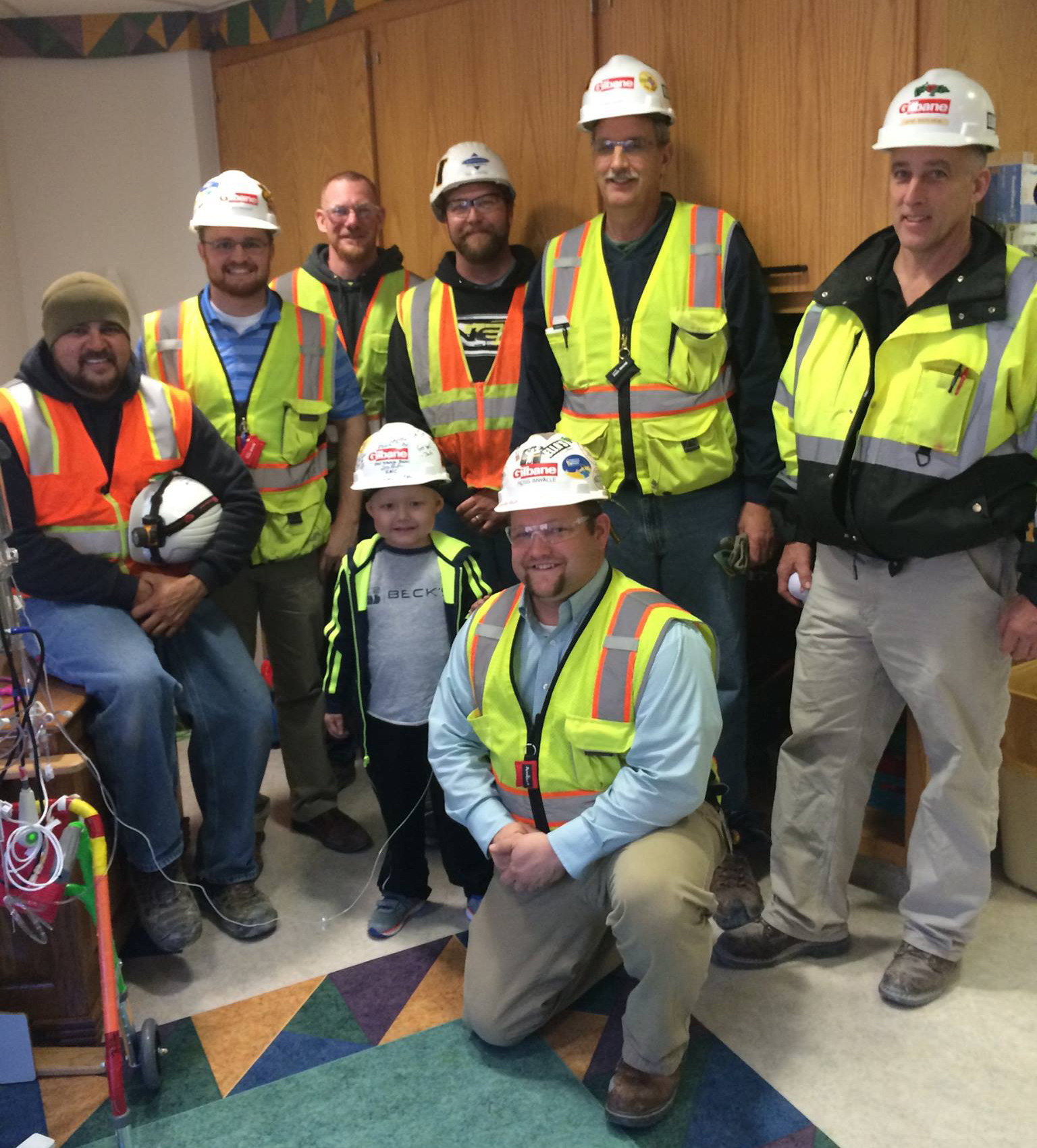 Kale gets a visit from the construction workers.