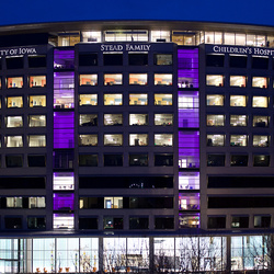 Night time photo of building with purple lights