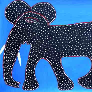 Black Elephant on Blue